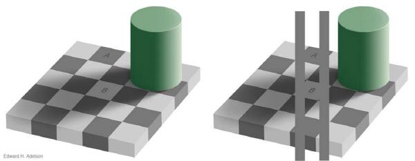 (그림 1) A와 B의 밝기를 비교해 보자.