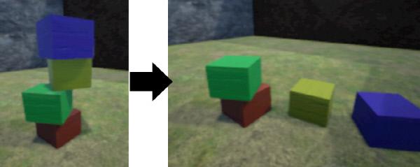 게임 엔진에 인공지능을 결합한 페이스북의 'UETorch'를 이용한 블록쌓기 실험. 블록이 쓰러질지 아닐지, 쓰러진다면 어느 쪽으로 쓰러질지를 학습한 컴퓨터의 예측력이 매우 높아졌다고 한다.<br />Cornell University Library 제공
