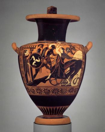 기원전 500년경 물항아리에 그려진 그림으로 아킬레우스가 헥토르의 시신을 전차에 매달고 가는 장면을 묘사하고 있다.