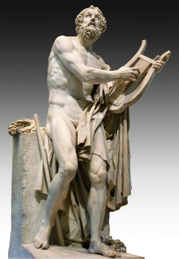 서양사상의 시원으로 평가받는 장편 서사시 &lt;일리아스>와 <오디세이>를 남긴 그리스 시인 호메로스. 프랑스 조각가 롤랑의 조각작품 '호메로스'(1812년).  루브르박물관 소장