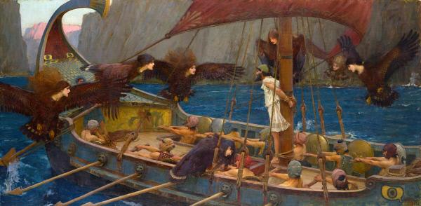 오디세우스는 아름다운 노랫소리로 사람들을 유혹해 위험에 빠트리는 사이렌에 처절하게 맞선다. 선원들의 귀는 밀랍으로 막고, 자신은 스스로 돛대에 몸을 묶었다. 존 윌리엄 워터하우스의 유화(1891년).