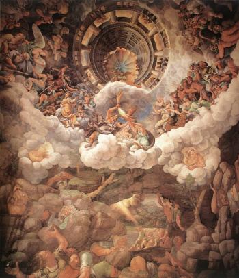 제우스는 티탄신(거인들)들과의 전쟁에서 승리함으로써 우주를 약속과 맹세 기반의 통치 체계로 바꾼다. 그림은 줄리오 로마노(1499~1546)의 프레스코 작품 '티탄(거인)들의 몰락'(1500년대, 이탈리아 팔라초 델 테).
