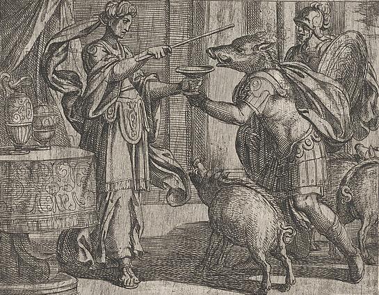 오디세우스의 동료들은 키르케의 마법에 걸려 돼지로 변했다. 이탈리아 작가 안토니오 템페스타(1555~1630)의 에칭 작품 '율리시스(오디세우스의 로마식 이름) 동료들을 돼지로 변하게 한 키르케'.
