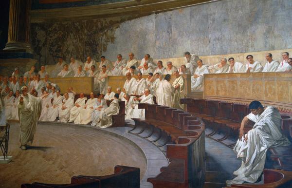 로마 시대의 정치가인 키케로가 원로원 의원들을 상대로 내란 음모에 대한 신속한 대책을 설득하고 있는 장면이다. 이탈리아 작가 체사레 마카리(1840~1919)의 프레스코화.