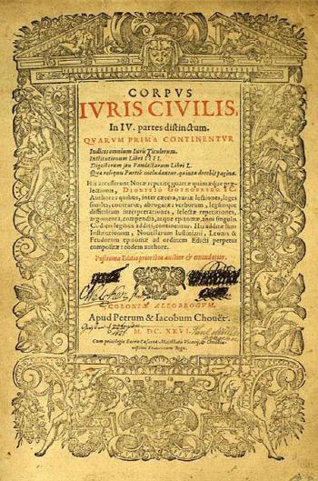 드니 고드프루아(1549~1622)가 편집한 뒤 스위스 제네바 근처의 콜로니아 알로브로굼에서 1626년에 출판된(초판본 1583년) <로마법 대전> 제1부 표지.
