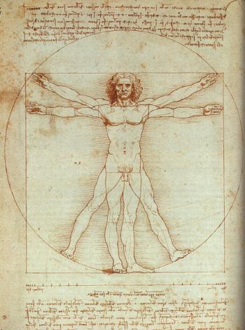 서양 건축학의 시조라 할 수 있는 비트루비우스는 저서 <건축십서>에서 건축물이 신체의 비례에 근거하고, 사람의 몸을 건축에 활용되는 척도로 삼아야 한다고 말했다. 레오나르도 다빈치는 비트루비우스의 이론을 시각화했는데, 흔히 '인체비례도'라 불리는 드로잉 '비트루비우스의 인간(Vitruvian Man)'(1490년경, 종이에 잉크, 이탈리아 베네치아 아카데미아미술관 소장)이다.