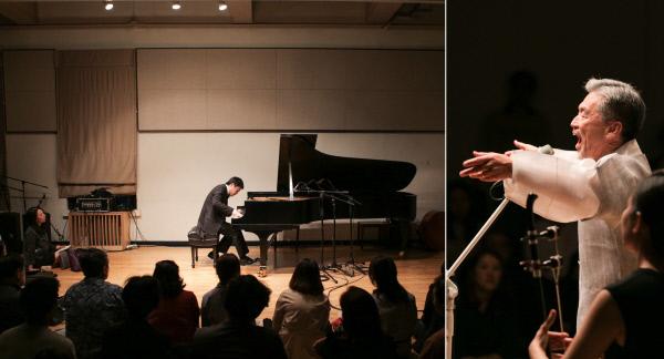 지난 19일 저녁 서울 대학로 '예술가의 집'에서 열린 하우스콘서트 500회 공연 무대에 오른 피아니스트 김선욱씨(왼쪽 사진)와 소리꾼 장사익씨. 하우스콘서트 제공