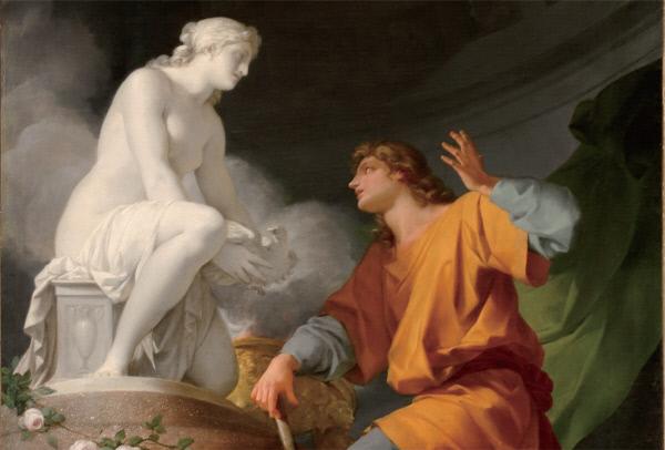 상아로 만든 조각품에 혼을 불어넣는 피그말리온. 장 밥티스트 레그노의 1758년 작품.