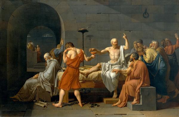 자크 루이 다비드의 <소크라테스의 죽음>(1787년)에서 소크라테스(가운데 흰옷)는 오른손으로 독배를 잡으려 하고, 왼손으로는 하늘을 가리키고 있다. 소크라테스는 많은 것을 암기했더라도 머리가 늘 깨어 있지 않으면 '지식의 공동묘지'일 뿐이라는 뜻을 강조했다.