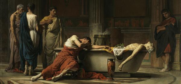 로마 제정시대의 정치가이자 철학자인 세네카는 로마의 학교가 덕성이나 사람다움에 대한 교육을 하지 못하는 것을 비판하며 인간이 인간답게 살기 위한 삶과 앎의 합일, 일치를 강조했다. 네로 황제의 스승이었던 그는 네로에게 자결 명령을 받은 것으로도 유명하다. 후대 작가들은 그의 죽음을 많은 작품으로 남겼다. 사진은 스페인 화가 산체스가 1871년 그린 '세네카의 죽음'. 원래 제목은 '정맥을 자른 후 친구들의 슬픔과 분노 속에서 욕조로 들어가는 세네카'다.