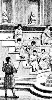 로마 시대의 교실 풍경. 로마인들에게 교육은 곧 수사학이었다. 수사학은 말의 화장술이 아니라, 공적인 자리에서 어떻게 말을 해야 하고, 일반 시민과 원로원 의원들을 설득하기 위해서는 말을 어떻게 해야 하는가를 가르치는 것이었다.