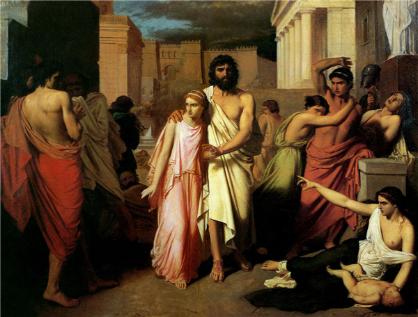 사람들의 질책과 비난을 받고 있는 오이디푸스와 장님인 아버지를 이끌고 있는 딸 안티고네. 힐레마허(Ernest Hillemacher)의 1843년 작품이다.