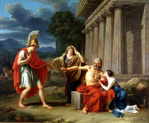 오이디푸스를 아테네로 모시러 온 테세우스. 지루(Jean-Antoine-Theodore Giroust)의 1788년 작품이다.