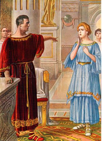공사 구분의 원칙에 따라 자신의 딸 율리아를 추방하는 아우구스투스. 스카르펠리(Tancredi Scarpelli, 1866~1937)의 작품.