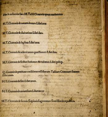 1496년에 출판된 키케로의 <법률론> 초판본(editio princeps).