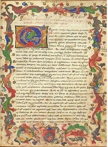 키케로의 <연설가에 대하여> 제1권 시작 부분을 전하고 있는 15세기의 필사본. 대영박물관에 소장돼 있다.