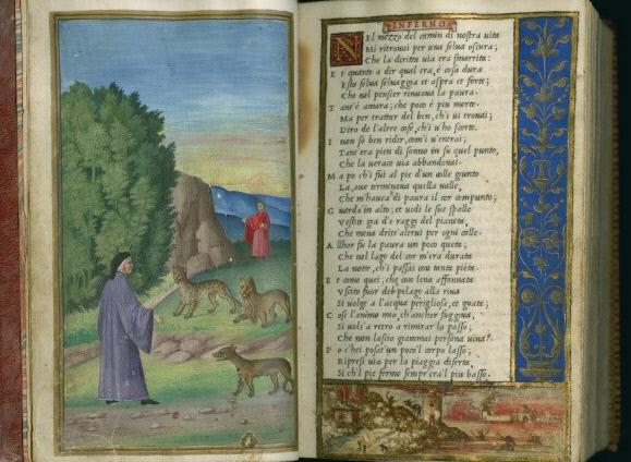 알두스가 개발한 이탤릭 글씨체로 인쇄된 단테의 <신곡> 서문.
