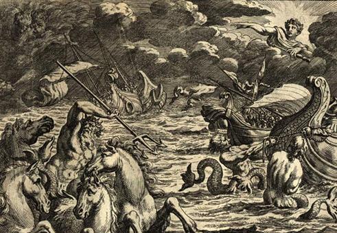 폭풍과 파도를 평정하는 포세이돈의 모습. <아이네이스> 제1권 150행에 나오는 내용을 그림으로 표현한 것.