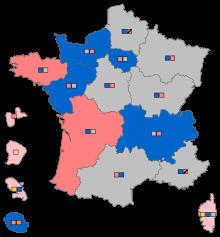 2015년 지방선거로 달라진 프랑스의 정치적 지형. 회색 지역이 마린의 민족전선이 가장 높은 득표율을 기록한 곳이다. 마린은 프랑스 북부와 동부의 황폐화된 산업지대(러스트벨트)에서 노동자들의 지지를 끌어모으고 있다.        위키페디아