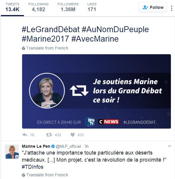 트위터 정치는 도널드 트럼프의 전유물이 아니다. 마린 역시 트위터로 지지자들에게 다가가고 있다. '오늘 밤 대선후보 토론에서 마린을 지지한다'는 내용이 적혀 있다.