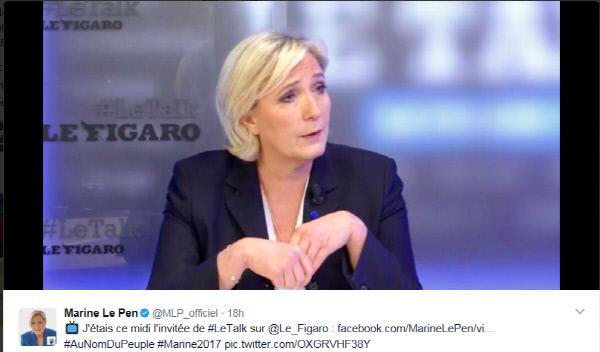 지난 4월9일 프랑스 일간 르피가로지와 인터뷰 하는 마린 르펜. 마린은 인터뷰 사실을 트위터에 올려 홍보했지만, 인터뷰 도중 2차대전 직전 유대인 1만3000명을 나치 수용소에 보냈던 당시 프랑스 정부의 책임을 부인해 '반 유대주의' 본색을 드러냈다.