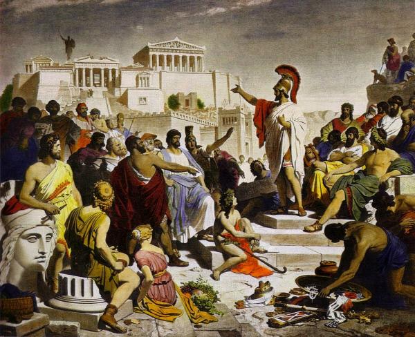 필립 폴츠의 '추도사를 하는 페리클레스'(1853). 페리클레스는 펠로폰네소스 전쟁 추도사에서 아테네의 위대함과 이를 위해 목숨을 바치는 일의 명예를 강조했다.