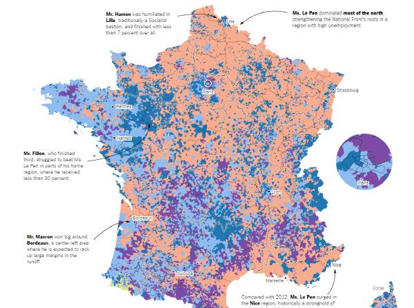 뉴욕타임스가 소개한 4월23일 프랑스 대선 1차투표의 후보별 유권자 분포도. 황토색이 민족전선의 마린 르펜이 가장 높은 지지를 받은 곳이고 중도 에마뉘엘 마크롱은 청색, 장 뤽 멜랑숑은 보라색이다.   황토색의 영역은 더 넓어졌다.<br />/뉴욕타임스 홈페이지 캡처