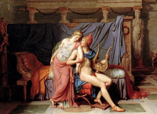 다비드(Jacque-Louis David)가 1788년에 그린 파리스와 헬레네의 밀회 장면.