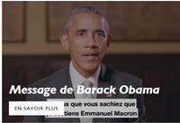 에마뉘엘 마크롱의 '앙마르슈' 홈페이지에 게재된 버락 오바마의 마크롱 지지 메시지.