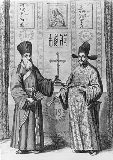 17세기 독일 예수회원 아타나시우스 키르허가 편찬한 백과사전 <중국도설(China Ilustrata)>(1667)에 실린 마테오 리치(오른쪽)와 서광계.