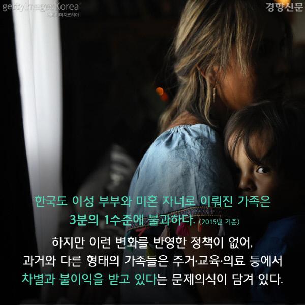 한국도 이성 부부와 미혼 자녀로 이뤄진 가족은 3분의 1수준에 불과하다. (2015년 기준) 하지만 이런 변화를 반영한 정책이 없어, 과거와 다른 형태의 가족들은 주거런냅갬의료 등에서 차별과 불이익을 받고 있다는 문제의식이 담겨 있다.