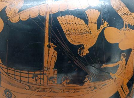 기원전 475년에 제작된 도자기 그림. 세이렌의 노래에 몸부림치는 오디세우스.