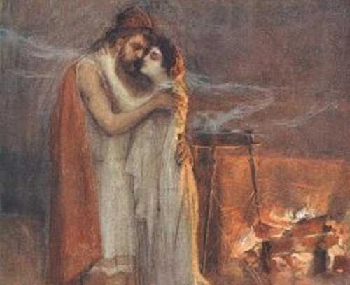 오디세우스를 알아보는 페넬로페. 스튀커(Jan Styka, 1858~1925)의 작품.