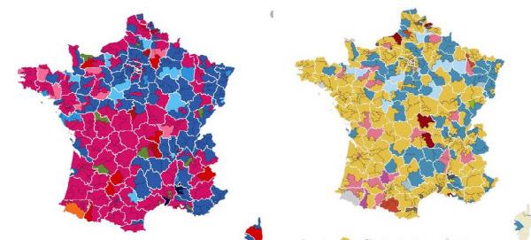 2012년 총선(왼쪽)과 2017년 총선 결과 달라진 프랑스의 정치지도. 붉은 색 계열이 중도좌파 사회당과 공산당 등 좌파계열 정당들의 승리 지역이고 파란색은 중도우파 공화주의자들 및 기타 우파 후보의 당선지역이다. 오른쪽의 올해 총선에서는 노란색의 '전진하는 프랑스( LRM)과 민주운동(MoDem)' 후보들의 당선지역이다. 황색 돌풍이 프랑스 국민의회(하원)을 마크롱의 텃밭으로 만들어놓았다.    르몽드