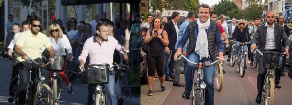 1주일 사이에 확바뀐 자전거 패션. 에마뉘엘 마크롱 프랑스 대통령이 총선 1차투표 하루전인 6월10일 부인 브리지트와 경호원들과 어울려 고향인 르 투케 시내에서 자전거를 타고 있다.(오른쪽  사진) 왼쪽 사진은  총선 결선투표 하루전인 6월17일 같은 장소에서 비슷한 모습을 보여주고 있다. 르투케/EPA연합뉴스