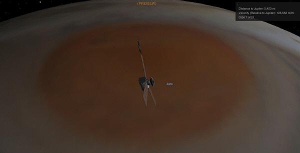 지난해 7월 목성 궤도에 진입한 탐사선 주노가 지난 10일 대적점에 근접하는 모습을 미 항공 우주국이가상도로 그렸다. |미 항공우주국(NASA) 트위터