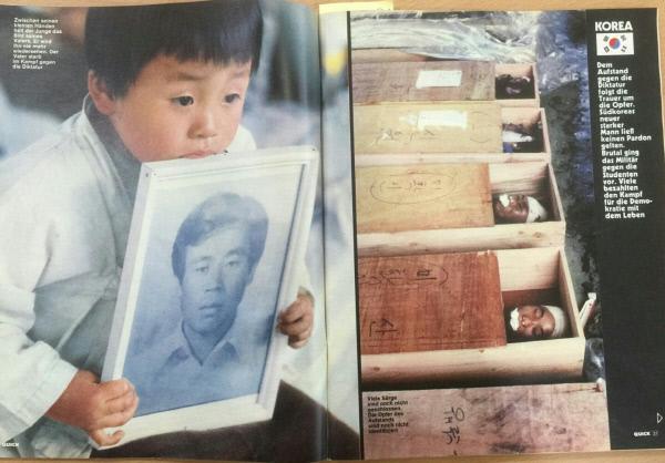 힌츠페터가 5·18 당시 촬영해 독일 잡지 <QUICK>에 보도한  '5·18 꼬마 상주'(왼쪽) 사진과 가족을 찾지 못한 희생자들의 모습. / 5·18기념재단 제공