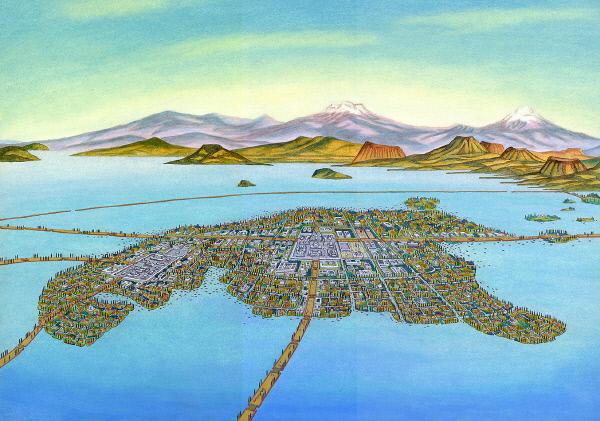 아즈텍인들이 텍스코코 호수 섬에 세웠던 수도 테노치티틀란의 모습. 스페인의 정복 후 멕시코시티가 됐다. www.latinamericanstudies.org