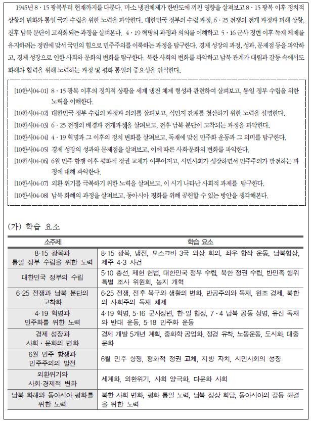 한국교육과정평가원 정책연구진이 개발 중인 고등학교 한국사 교과서 현대사 대단원의 집필기준 시안.