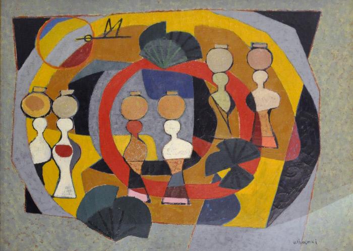 <b>달항아리를 사랑한 화가들의 작품</b> 김환기의 '섬 스케치'(1940년대·캔버스에 유채·80×99.6㎝) |서울미술관 소장.
