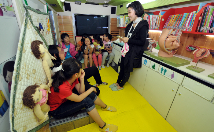 초등학교 학생을 대상으로 열린 '찾아가는 성교육' 프로그램. 형식적인 성교육이 아닌, 사회의 구조적인 폭력을 깨닫게 하는 성교육이 필요하다. 경향신문 자료사진