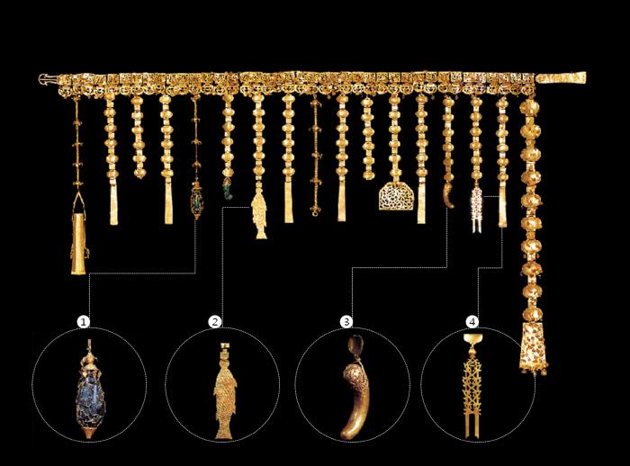 1500여년 전의 신라 고분에서 나오는 황금유물 가운데 금제 허리띠는 금관과 늘 함께 발견된다. 신분을 나타내는 위세품 역할을 한 허리띠는 금판들을 연결해 띠를 만들고, 그 아래로 띠드리개를 늘어뜨린다. 띠드리개 끝에는 저마다 상징을 담은 굽은옥, 향주머니(향낭), 물고기 모양, 숫돌, 족집게 등을 매달았다. 사진은 금관이 처음 나온 경주 금관총에서 발굴된 '금관총 금제 허리띠'(국보 88호). 띠드리개 끝의 장식물은 왼쪽부터 ① 향낭, ② 고기 모양, ③ 굽은옥, ④ 금판에 맞새김한 용이다.