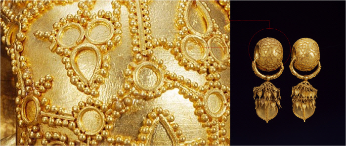 경주 보문동 부부총(합장분)에서 발굴된 '부부총 금귀걸이'(국보 90호). 수백개의 금알갱이·금실을 정교하게 세공(왼쪽 세부 모습)해 화려함의 극치를 보여준다.