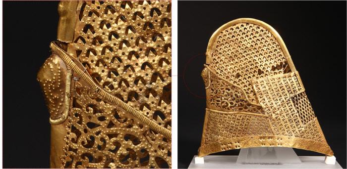 신라의 금제 관모들 가운데 빼어난 공예기술을 보여주는 '천마총 관모'(국보 189호)와 세부 모습(왼쪽).