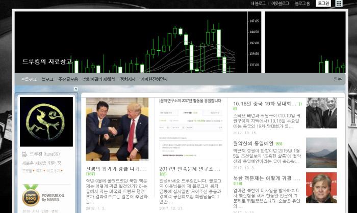정부 비판 '네이버 댓글 공작'의 주범으로 지목된 필명 '드루킹' 김모씨의 블로그 첫 화면.