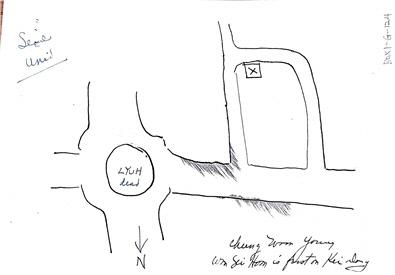 여운형이 암살당한 혜화동 로터리를 직접 그린 버치의 메모. 메모의 밑에 정운영, 원세훈 이름이 적혀 있으나 그들은 여운형 암살 시 여운형과 동승하지 않았다.