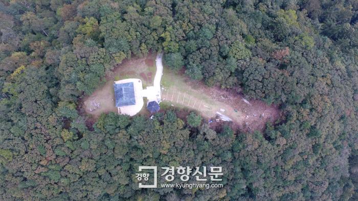 '오대산 중대 적멸보궁'의 항공 사진.