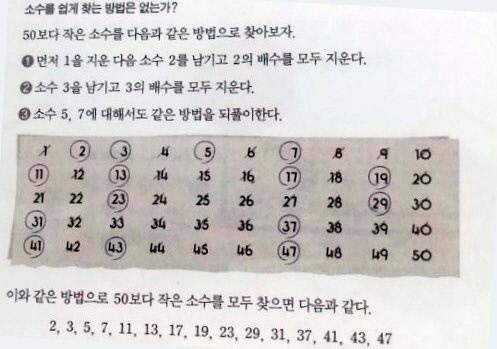 기존 수학교과서에 실린 '소수찾기'. 사교육걱정없는세상 제공