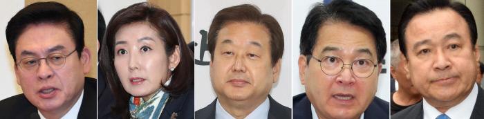 정우택, 나경원, 김무성, 심재철, 이완구(사진 왼쪽부터)