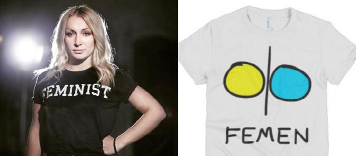 페멘의 리더 인나 셰브첸코(왼쪽)와 여성의 가슴을 뜻하는 페멘의 심볼이 그려진 티셔츠(오른쪽).